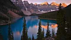 Valley of the Ten Peaks (Kevin Benedict Photography) Tags: morainelake sunrise banff nationalpark alberta canada nikon landscape morning dawn alpenglow photobenedict clouds longexposure lakelouise valley tenpeaks fall autumn pine spruce fir larch rockpile mountain mountains peak glacier glacialblue