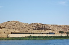 The daily Cairo to Luxor train (stevelamb007) Tags: railroad sahara river landscape nikon desert d70s egypt railway nile cairo luxor saharadesert stevelamb