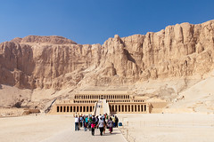Mortuary Temple of Hatshepsut beneath Deir el-Bahari cliffs, Luxor (Egypt) (Steffen Kamprath) Tags: architecture decayed desert documentary hulk luxor people religion sight sonya77 temple travel alwadialdschadid gypten availablelight history ruin tamronspaf1750mmf28xrdiii slt dslr apsc amount zoomlens bygonetimes olddays ancient lostcivilization attraction spot landmark tourism traveldestination travelphotography traveling vacation africa afrika afrique frica egypt egipto egypte egito