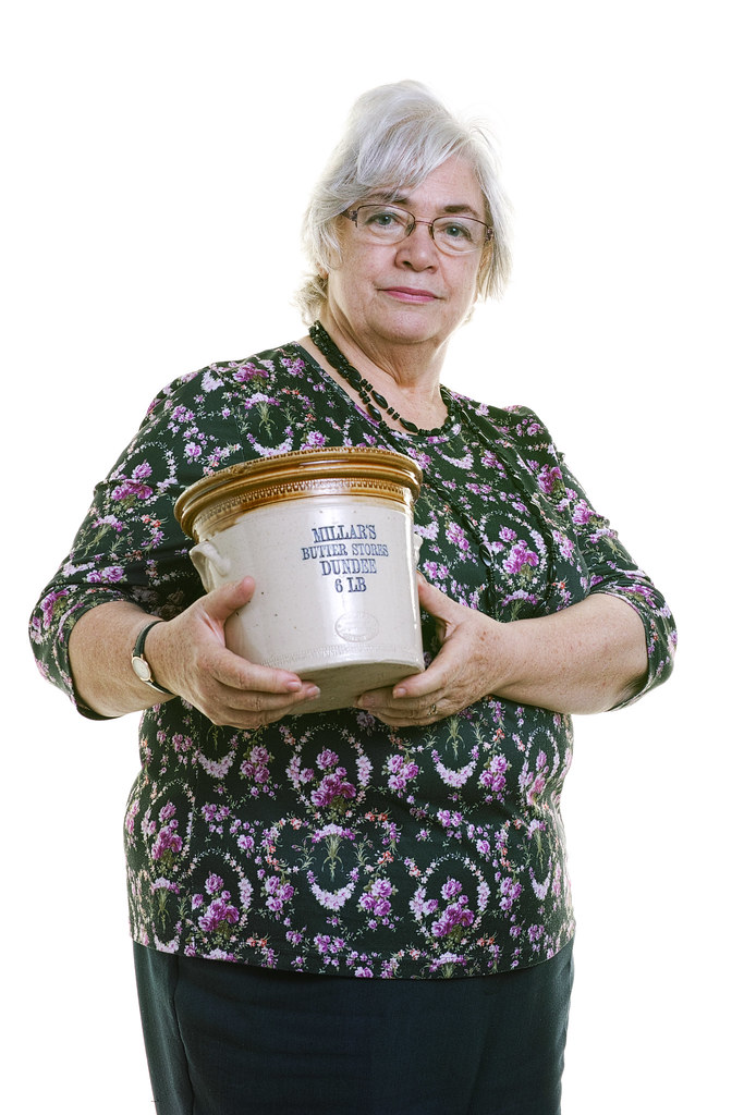 Carol Primrose  holding Butter Tub - Family archive WW1 Family/social history