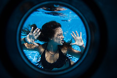 Judith is trapped in the pool (Nualarttv) Tags: summer water pool girl swimming swim photography swimingpool