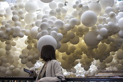 london (Roberto.Trombetta) Tags: uk england sculpture woman black building london art girl mobile century canon garden hair idea artist heart market britain coat great balloon charles smartphone covent jacket installation stunning chatting beating texting 6d heartbeat petillon canon6d