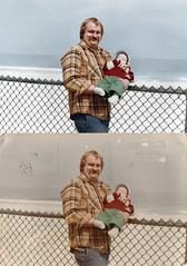 hayejel_sayreville_20130216_052_cr_RIP_TKv1_st_splice_vert (CARE for Sandy) Tags: ocean charity baby man beach june photoshop fence outside outdoors happy infant dad child view transformation hurricane father jeans 70s restoration date mustache beforeandafter 1970s volunteer plaid damaged 1979 photorestoration beforeafter c1 holdingbaby postaphoto hurricanesandy superstormsandy