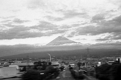 Mount Fuji, Shinkansen - Hiroshima to Tokyo (MCorrigan1983) Tags: bw japan train nikon fuji mount fujisan bullet nikkor shinkansen kodaktmax400 nikonf6 2015 nikkor50mmf18d 400tmx