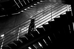 From a staircase to the other one (pascalcolin1) Tags: paris escaliers staircase homme man ombre shadow lumire light photoderue streetview urbanarte noiretblanc blackandwhite photopascalcolin