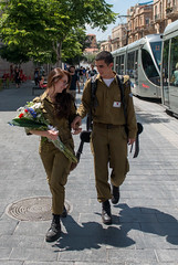 Young Love Soldiers (Packing-Light) Tags: street flowers love israel war westbank military muslim jerusalem religion christian il arab dating jewish conflict soldiers idf levant palestinian jerusalemdistrict palestineisraeli