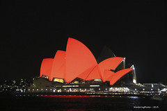 Sydney Opera House at night - Sydney New South Wales Australia (WanderingPhotosPJB) Tags: red colour night sydney australia newsouthwales colourful operahouse sydneyoperahouse colourfulworld cmwdred