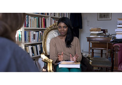 PAD003429-01 (oxforduni_digicomms) Tags: uk two female book student chair europe sitting adult inside discussion bookcase youngadult twopeople tutorial stannes tutor supervision explaining universityofoxford ethnicdiversity oneonone lookingatcamera threequarterlength caucasianethnicity africanethnicity stannescollege november2011