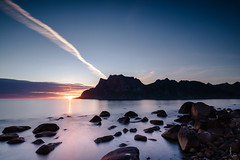 Last of the Midnight Sun (madebydusk) Tags: nordland norway no lofoten norge sunset beach midnight sun sky rocks