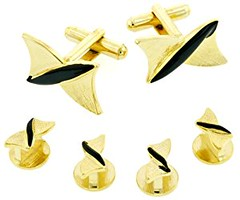 Unusual gold plated and black enamel cufflinks and shirt studs formal set with presentation box. Made in the USA (goodies2get2) Tags: 50to100 amazoncom bestsellers highestquality toprated