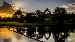 Bolton Abbey (Dreampixels LTD) Tags: bolton abbey boltonabbey riverwharfe sunset yorkshire clouds steppingstones refelction sky sun