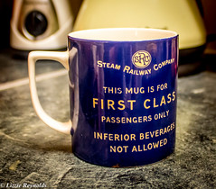 Day 289, 2016, a photo a day. (lizzieisdizzy) Tags: howiemarsh china vessell drinking drink hot cold coffee tea coloured blue advert advertising britishrail kitchen worktop marble steamtrain steam train