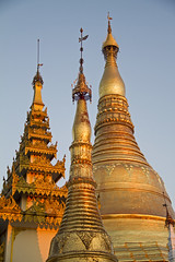 Evening light on the stupas#2 (bag_lady) Tags: stupas pagoda myanmar burma yangon rangoon buddhist buddhism shwedagonpaya shwedagonzedidaw goldenpagoda goldendagonpagoda singuttarahill sacred golden