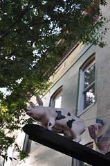 Pig Town (GuyDeckerStudio) Tags: pig town west baltimore industrial park moss railroad brick building decal sign industry ironwork iron work blue restaurant windows door metal red street maryland train stacks montgomery collar abandoned