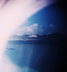 Raft Race (teaselbrush) Tags: analogue film camera toy superheadz slim white angel photography sussex uk england british seaside town coast coastal urban newhaven east glitch blur light leak raft race river ouse