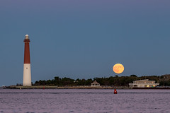 October Harvest Moon (Bob Kirschke) Tags: nj newjersey lighthouse lbi longbeachisland barnegatbay bobkirschke moon harvestmoon fullmoon
