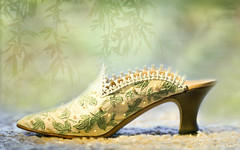 Fashion Statement ;o) (Elisafox22 still Off more than On!) Tags: elisafox22 sony ilca77m2 100mmf28 macro macrolens telemacro stilllife shoe victorian lacetrimmed green leaves design elegant elegance 1880s justtherightshoe ornament raine texture textured elisaliddell2016