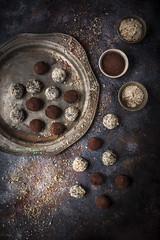 Chocolate Chilli Truffles (saraghedina) Tags: canon chiaroscuro chocolate darkfood darkfoodphotography foodphotography foodstyling dessert cocoa spicy chillipepper homemade sweet sugar rustic