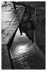 Reflection 9. (sdupimages) Tags: reflet eau water rue street reflection noirblanc bw nb blackwhite