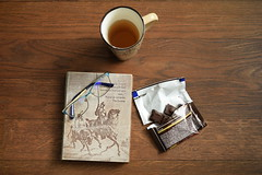 Favoutite things (adelina_tr) Tags: book booklove tea chocolate reading glasses favouritethings athome 7dwf 7dayswithflickr