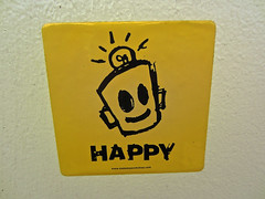 Happy, Augusta, GA (Robby Virus) Tags: augusta georgia happy sticker slap robot leonard zimmerman jr junior porkchop