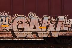 GAW (TheGraffitiHunters) Tags: graffiti graff spray paint street art colorful freight train tracks benching benched gaw boxcar