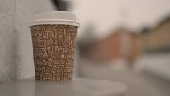 Coffee Cup with Background Blur (Mister.Marken) Tags: dof depthoffield blury sweden photographyproject södertälje nikon nikond5200 nikonafsnikkor 35mm coffee coffeecup papercup genericpapercup