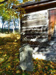 November Shadows (e r j k . a m e r j k a) Tags: pennsylvania allegheny upperohiovalley shadows november autumn moon logcabin headstone rustic dappled i376pa i79pa erjkprunczyk lincolnhighway us30