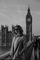 Big Ben and style (judethedude73) Tags: monochrome blackwhite london city urban street england photography parliament clock lady