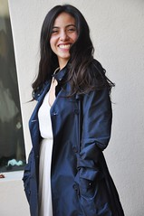 Happy Taffeta Trench (betrenchcoated) Tags: trench blue shiny beautifulgirl raincoat regenmantel buttons doublebreasted tafetta taft happy