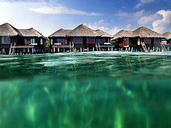 Overwater Bungalow - Water Level View (ClickSnapShot) Tags: ilobsterit maldives waterlevel underwater overwaterbungalow sheraton sheratonmaldives turqouise blueocean blue paradise