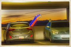 THE ROAD GOES ON FOREVER AND THE PARTY NEVER ENDS (akahawkeyefan) Tags: cars guitar neon sign hardrock davemeyer lasvegas parkinggarage