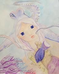"""Fanta """"sea"""" girl mixed media by dkskinner.com (dkskinner) Tags: dkskinner fish coral mermaid girl mixedmedia octopus"""