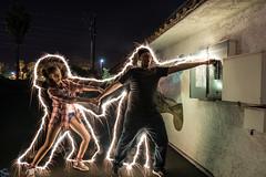 Live Wire! (PhotonLab) Tags: night nightscene nightshooter lowlight longexposure lighttrails lightpainting electricity electron electrocution shock live wire power circuitbreaker models joke funny sparkler firework