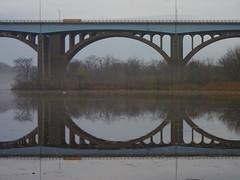 US Route 1 Bridge (Dendroica cerulea) Tags: river reflection bridge autumn usroute1bridge donaldandmorrisgoodkindbridges raritanriver highlandparkmeadows highlandpark middlesexcounty nj newjersey