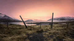Fence (Geinis) Tags: iceland sland snfellsnes sunset snow sony sonya6000 ilce6000 landscape nature mountain grass geinis fence