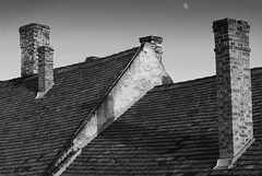 Chimneys (photoroberto) Tags: roof chimney blackandwhite bw moon monochrome architecture hungary outdoor sztendre