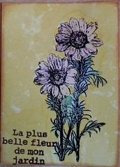 Tournesols (tonkinoise2012) Tags: flowers flores nature atc fleurs handmade stamping texte timholtz distressmarkers distressstainspray