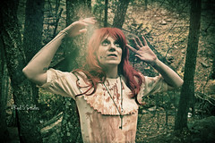 Orb (Red 5 Photography) Tags: pink trees red woman brown white green nature forest photoshop dark outdoors costume blood woods nikon colorado cosplay spirit zombie ghost gothic goth longhair orb eerie creepy spooky lolita brightlight lensflare coloradosprings horror bloody facepaint redhair ghostly modelpose voodoo enchanted specialeffects redwig fakeblood longredhair bearcreek armsup whitedress brokendoll femalezombie handpose bloodstained crackeddoll pixlr coloradophotography dollmakeup d5200 girlzombie womaninwoods nikond5200 orbinhand