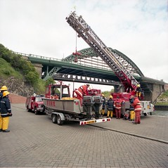 Launching Fire Boat Vedra into the River Wear for training purposes at Austin's Embayment, Panns Bank, Sunderland on 16 June 1991 (Sunderland Museum & Winter Gardens) Tags: fire boat engine wear appliance sunderland vedra