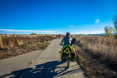 Cycling on a path instead of a highway in Longmont, CO.