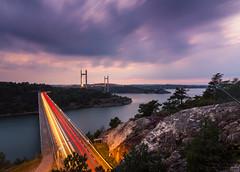 Tjrnbron (johanbe) Tags: longexposure night evening kvll natt lngexponering slowshutter tjrnbron bro bridge light trails ljusspr speed nikon tokina wideangle