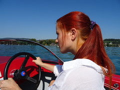 Boating on Lake Zurich - beautiful september (faberlatusm - 200 mio views) Tags: erotic sensual sexy breasts redhair redhead white blue