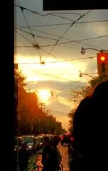 Quick Sunset Peek (Georgie_grrl) Tags: sunset light beauty nature fromthestreetcar spadinaandqueen pedestrians bicycles sun glow warmth toronto ontario commutehome ttc