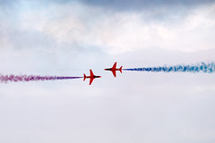 1400 mph + (Cumberland Patriot) Tags: the red arrows raf royal air force theredarrows aerobatic display team bae hawker t1a hawk jet trainer training aircraft airplane dawlish carnival devon blue sky cloud cloudy