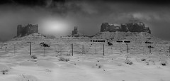 Day of cold in Black and white (Eve Photography By JC Clemens) Tags: bw landscape nikon 50mm nikkor utah navajo reservation lightroom snow cloud rock mountain winter fence lighting effects
