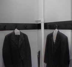 two suits :: a silent conversation (dotintime) Tags: two duet pair suit tuxedo formal men menswear fashion old closet hang hanger hook corner cane dust dotintime meganlane
