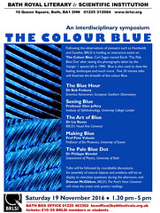 Flyer for The Colour Blue Symposium on 19 Nov 2016 (The^Bob) Tags: bath brlsi symposium thecolourblue 19november2016 flyer