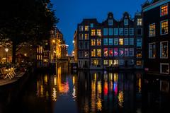 Amsterdam at night (jojo54th) Tags: amsterdam niederlande netherlands holland nacht spiegelungen night reflections reflektionen wasser blau water blue lighsts lichter farbig colored city stadt gracht kanal
