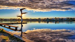 Haraldsvang, Haugesund - Norway (Vest der ute) Tags: g7x norway rogaland haugesund reflections mirror waterscape landscape water clouds sunset divingtower houses fav25 fav200